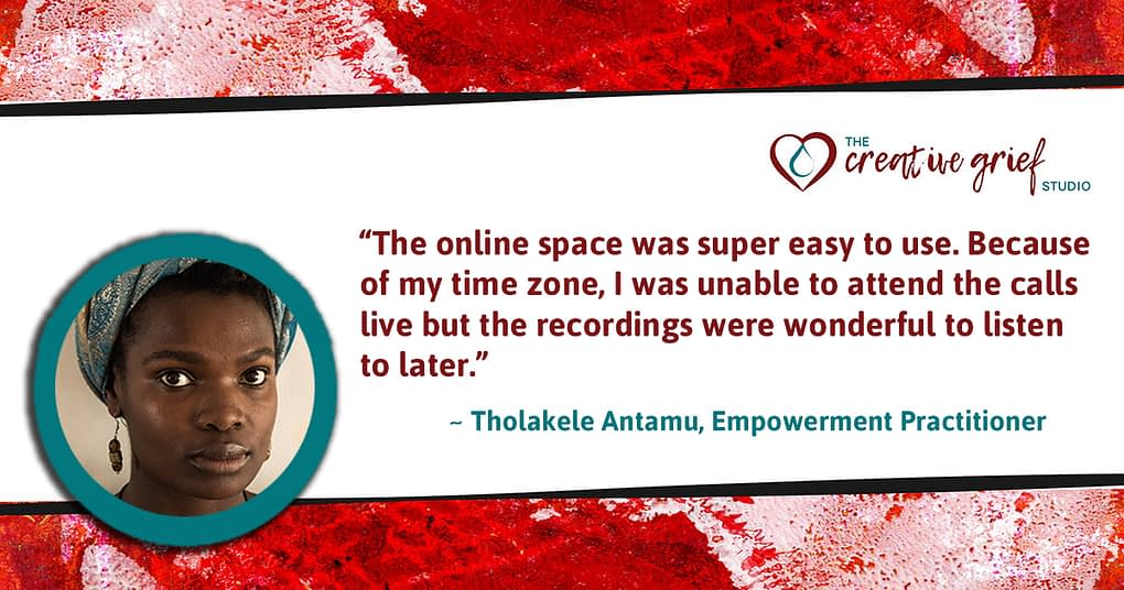 Testimonial from Thola Antamu about her course experience.