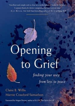 Dark blue book cover of Opening to Grief