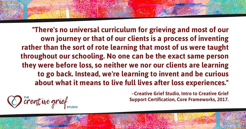 Web resolution of quote poster about Learning as invention and curiosity from the Creative Grief Studio